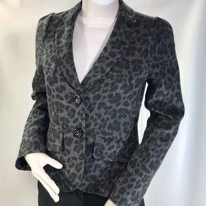 Rebecca Taylor Grey Leopard Print Wool Blazer Sz 4